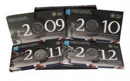 2009 - 2012 Count Down To The Olympics 4 x £5 coin Set for sale